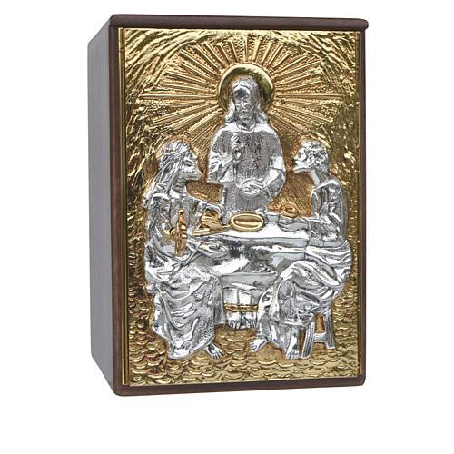 Tabernacle d'autel en bois et porte en laiton Souper à Emmaüs 1
