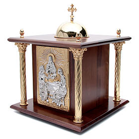 Altar Tabernacle in wood with brass window and columns, Dinner a s2