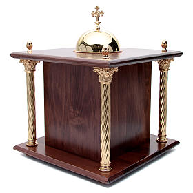 Altar Tabernacle in wood with brass window and columns, Dinner a s4