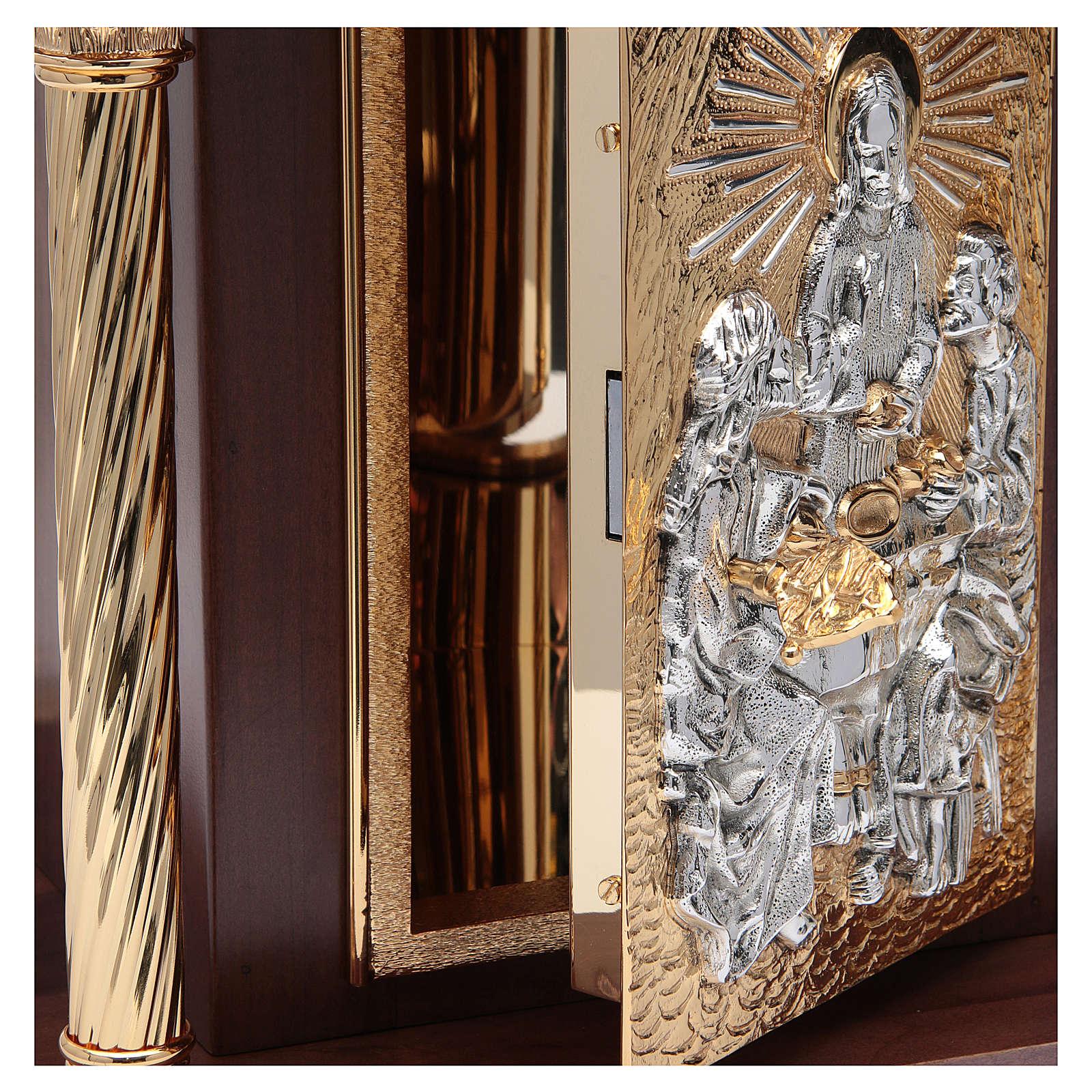Tabernacolo in legno, porta e colonne in ottone Cena Emmaus ...