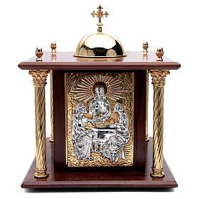 Tabernacolo in legno, porta e colonne in ottone Cena Emmaus s1