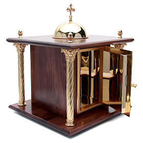 Tabernacolo in legno, porta e colonne in ottone Cena Emmaus s3