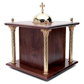 Tabernacolo in legno, porta e colonne in ottone Cena Emmaus s4