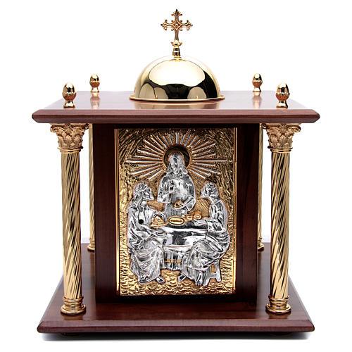 Tabernacolo in legno, porta e colonne in ottone Cena Emmaus 1
