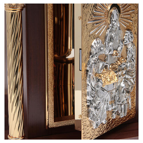 Tabernacolo in legno, porta e colonne in ottone Cena Emmaus 5
