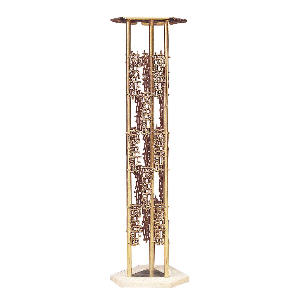 Colonna per tabernacolo ottone fuso base marmo 4