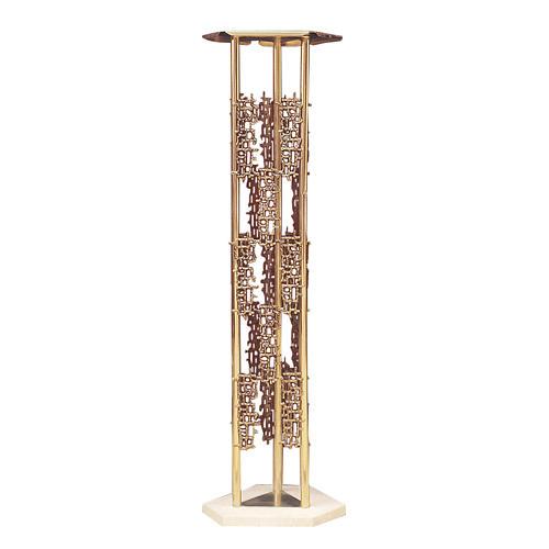 Colonna per tabernacolo ottone fuso base marmo 1
