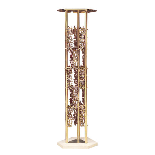 Column for tabernacle in brass, marmor base 1