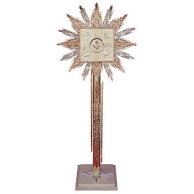 Colonne pour tabernacle laiton bicolore base marbre s1