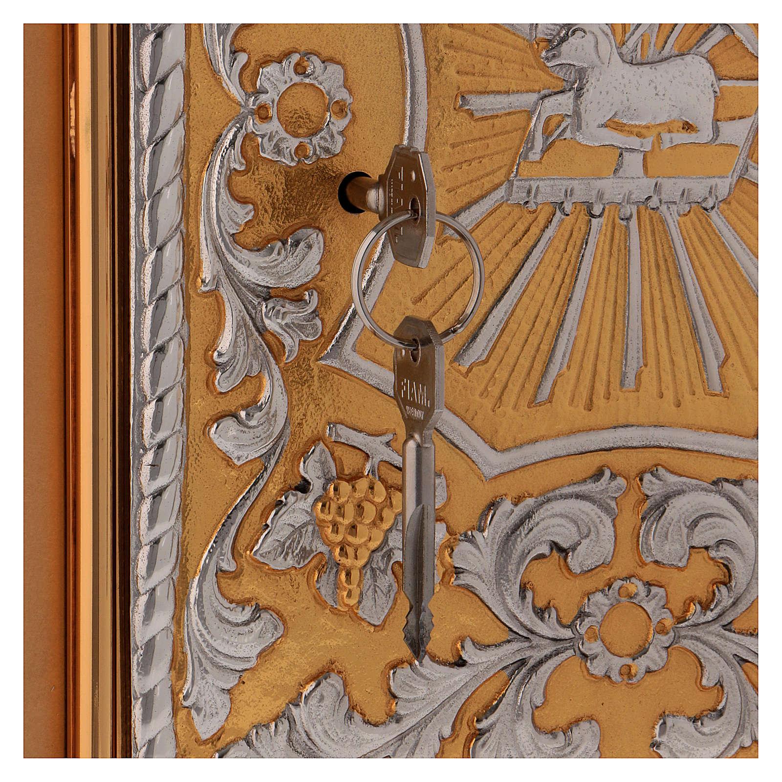 Tabernacolo da mensa ottone bicolore Agnello Angelo 4