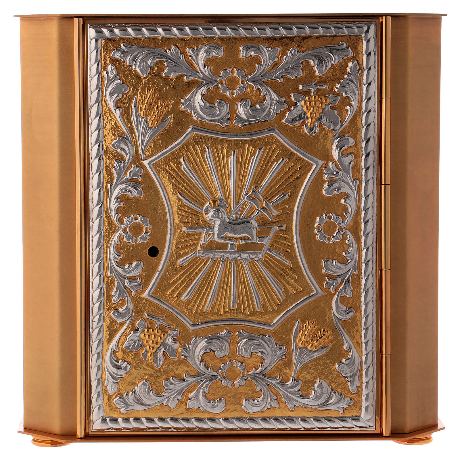Altar tabernacle Lamb of God and Angel, bicolor brass 4