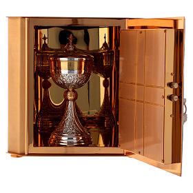 Altar tabernacle Lamb of God and Angel, bicolor brass s7