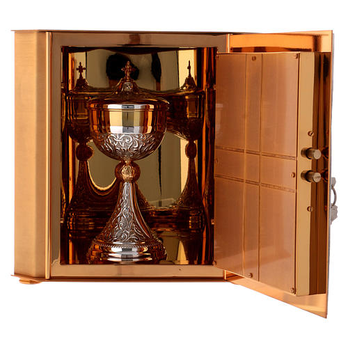 Altar tabernacle Lamb of God and Angel, bicolor brass 7