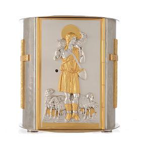 Tabernacolo da mensa tondo Buon Pastore ottone dorato s1