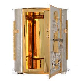 Tabernacolo da mensa tondo Buon Pastore ottone dorato s4