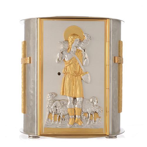 Tabernacolo da mensa tondo Buon Pastore ottone dorato 1