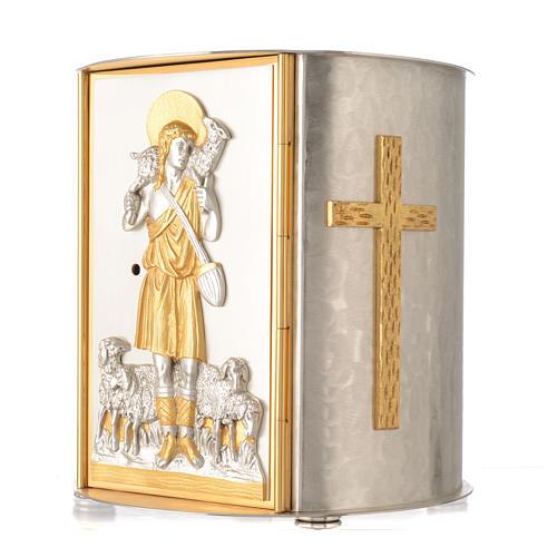 Tabernacolo da mensa tondo Buon Pastore ottone dorato 3