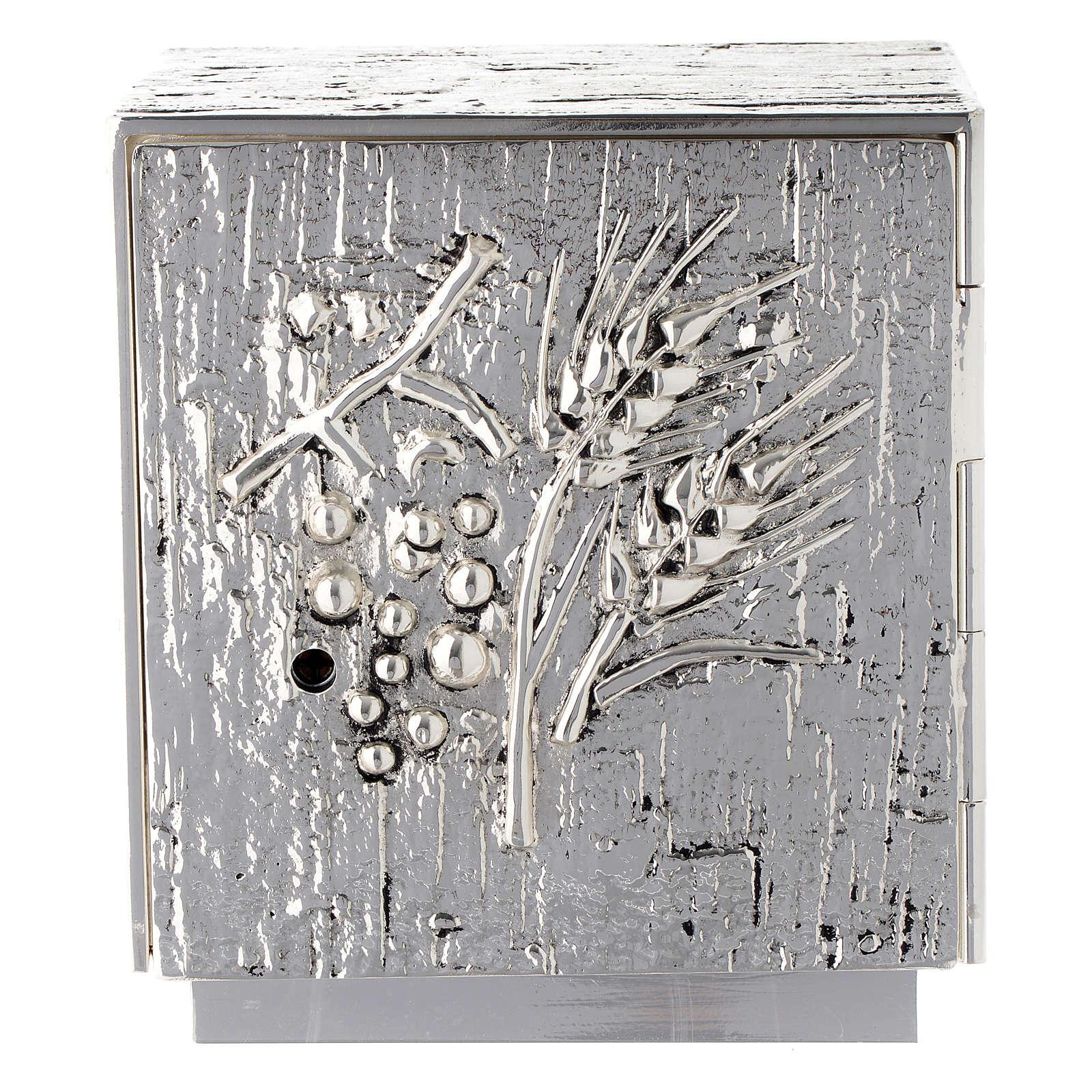 Tabernacolo da mensa ottone fuso argento uva spighe 4