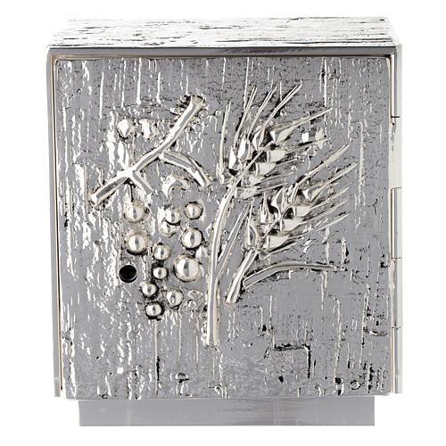 Tabernacolo da mensa ottone fuso argento uva spighe 1