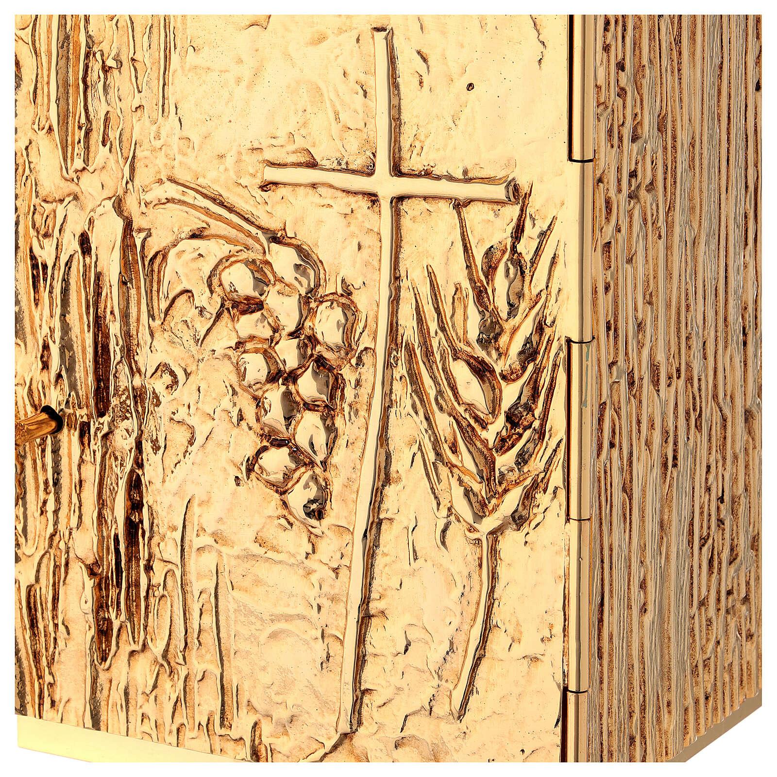 Tabernacle à poser laiton doré épis grappe croix 4