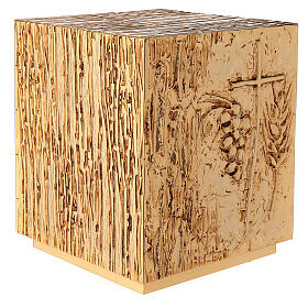 Tabernacle à poser laiton doré épis grappe croix s9