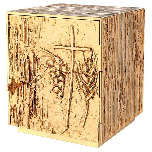 Tabernacle à poser laiton doré épis grappe croix 2
