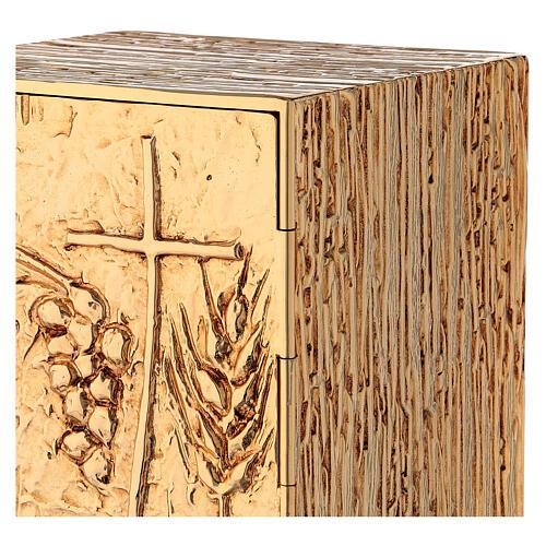 Tabernacle à poser laiton doré épis grappe croix 5