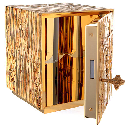 Tabernacle à poser laiton doré épis grappe croix 6