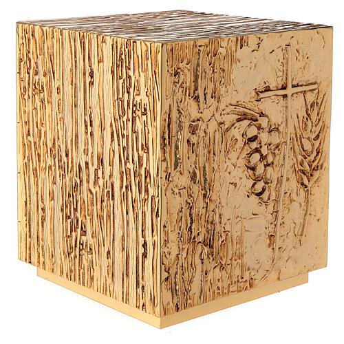 Tabernacle à poser laiton doré épis grappe croix 9