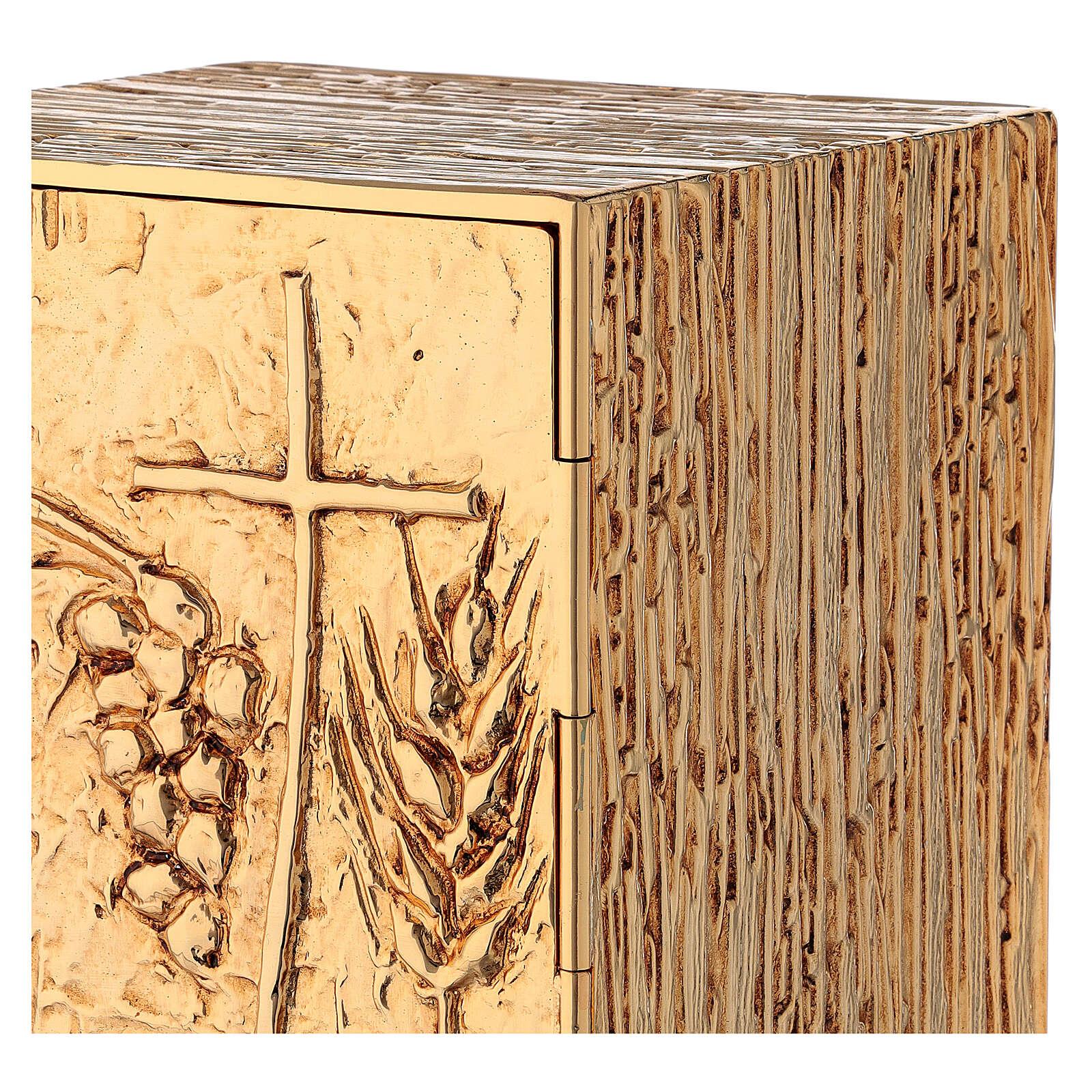 Tabernacolo da mensa ottone dorato spiga grappolo croce 4