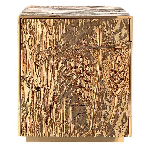 Tabernacolo da mensa ottone dorato spiga grappolo croce 1