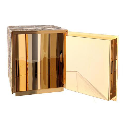 Tabernacolo da mensa ottone dorato spiga grappolo croce 8