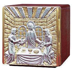 Tabernacolo da mensa legno ottone fuso Gesù apostoli s1