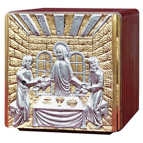 Tabernacolo da mensa legno ottone fuso Gesù apostoli 1