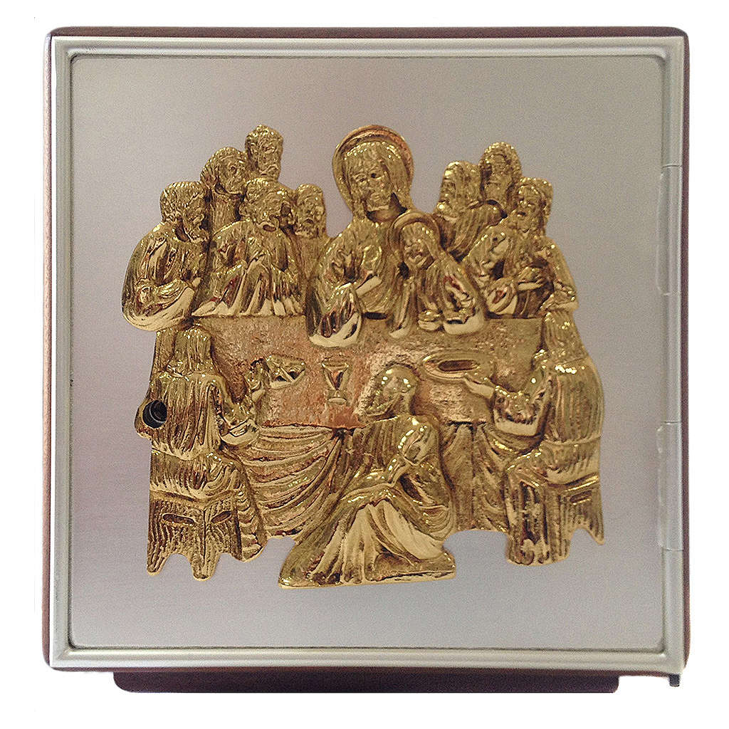 Altar tabernacle Last Supper, wood and brass 4