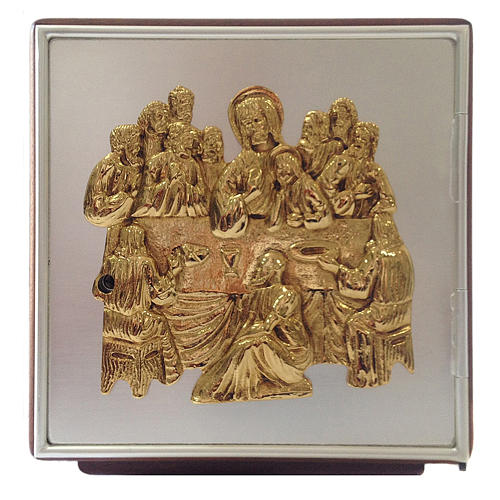 Altar tabernacle Last Supper, wood and brass 1