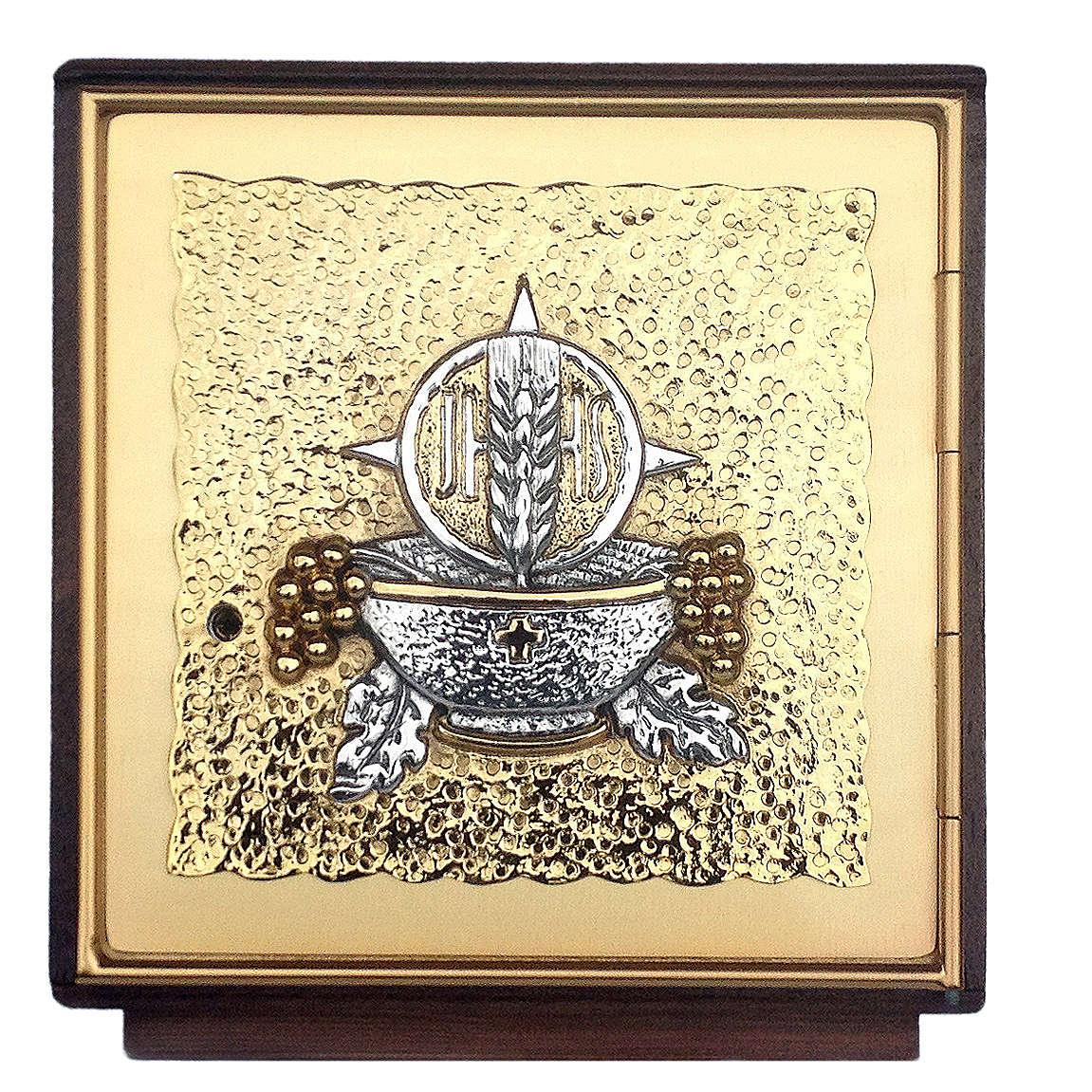 Tabernacolo da mensa legno e ottone fuso oro argento 4