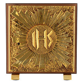 Tabernacle bois imitation marbre moulage laiton Exposition IHS s1