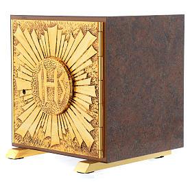 Tabernacle bois imitation marbre moulage laiton Exposition IHS s2