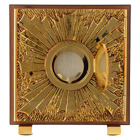 Tabernacle bois imitation marbre moulage laiton Exposition IHS s4