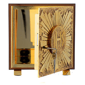 Tabernacle bois imitation marbre moulage laiton Exposition IHS s5