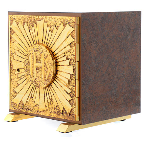 Tabernacle bois imitation marbre moulage laiton Exposition IHS 2