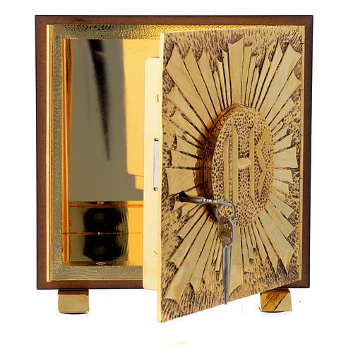 Tabernacle bois imitation marbre moulage laiton Exposition IHS 5