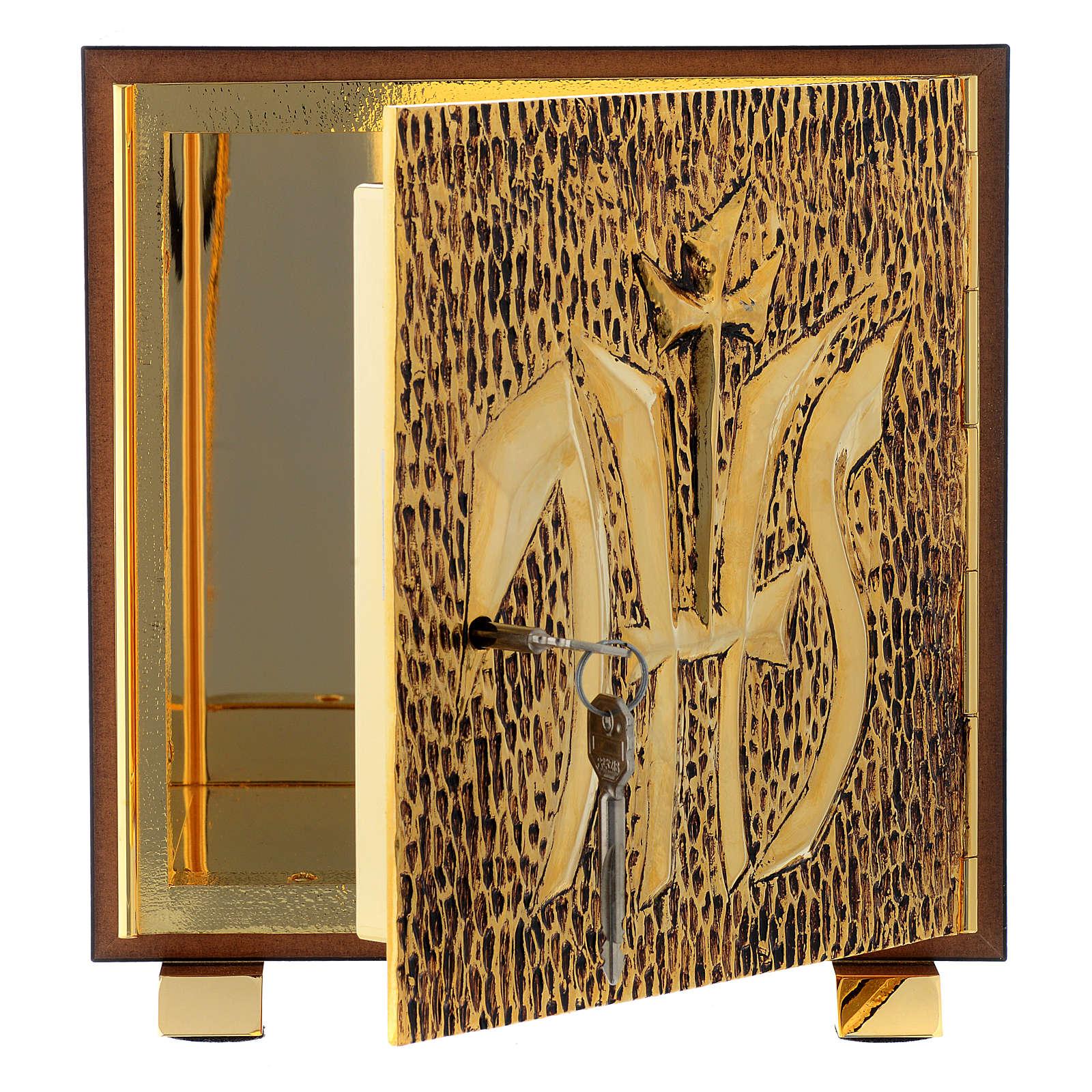Tabernacle bois imitation marbre moulage laiton IHS 4