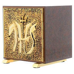 Tabernacle bois imitation marbre moulage laiton IHS s2