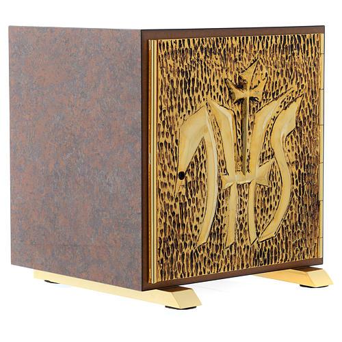 Tabernacle bois imitation marbre moulage laiton IHS 3
