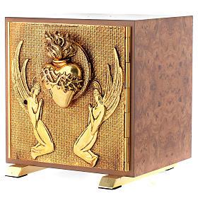 Tabernacle bois imitation ronce moulage laiton Exposition Sacré Coeur s2