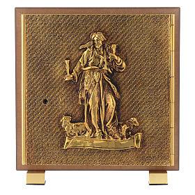 Tabernacle bois imitation ronce moulage laiton Bon Pasteur s1