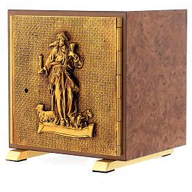 Tabernacle bois imitation ronce moulage laiton Bon Pasteur s2
