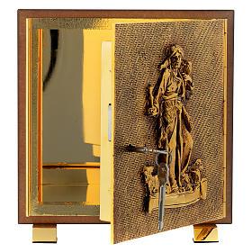 Tabernacle bois imitation ronce moulage laiton Bon Pasteur s4